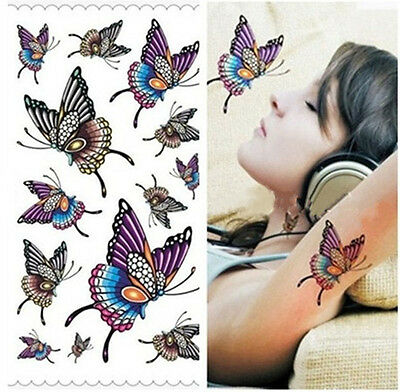 New Sexy Waterproof Temporary Fake Tattoos DIY Girl's Colorful Butterfly Sticker