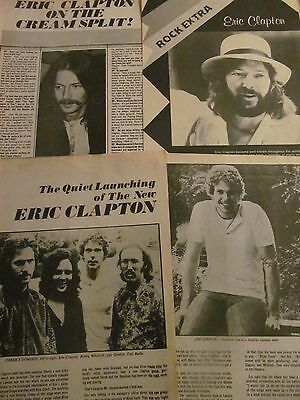 Eric Clapton, Lot of THREE Full and Two Page Vintage Clippings