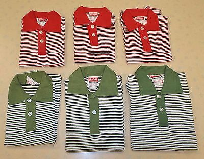 6  x VINTAGE 1970's UNWORN BOYS LEETOGS STRIPED T-SHIRTS GREEN & RED  2-12 YEARS