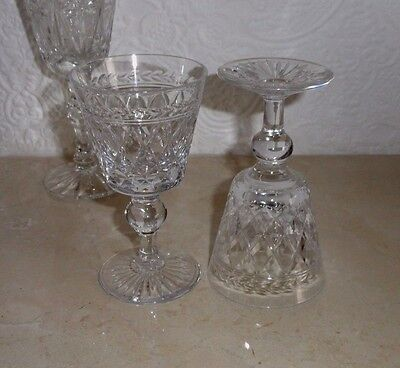 2 Lovely Vintage Cut Glass  Crystal Sherry Glasses Very Good Condition