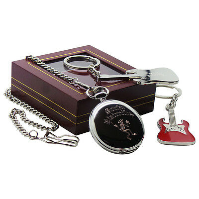 Signed JIMMY PAGE Pocket Watch with Chain and Guitar Keyring Led Zeppelin Set