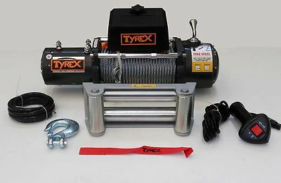 Raptor 4x4 Tyrex Winch 9500lbs 24V Steel Wire Rope Off Road Recovery Winching