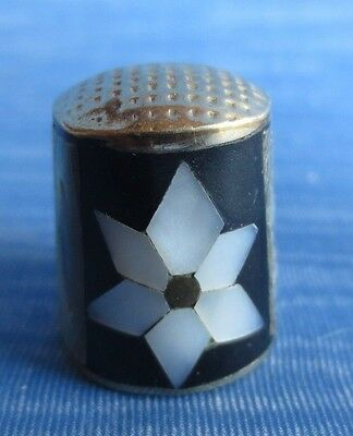 vintage .925 mother of pearl flower abalone inlay alpaca silver thimble -ec
