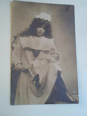 Delightful Vintage Real Photo Postcard Young Girl With Old Doll Franked 1907