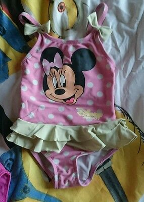 baby girl minnie mouse swimming costume swimsuit size 12-18 months