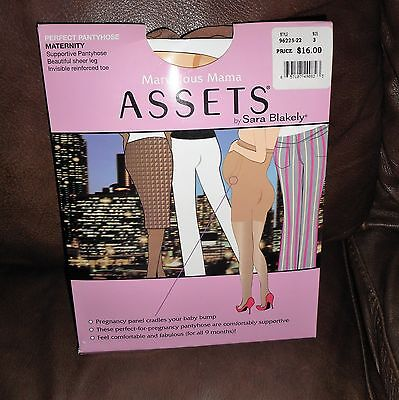 Marvelous Mama Assets by Sara Blakely Perfect Maternity Pantyhose NUDE Sz 3 NEW