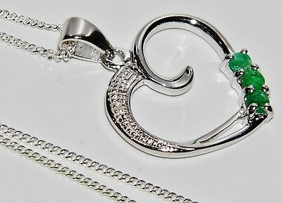 Sterling Silver (925) Real Emerald & Diamond Heart Pendant / Necklace & Chain