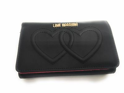 Portafoglio Da Donna Love Moschino Nero 2 Hearts Con Pattina As17Mo23
