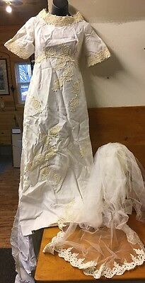 Vintage EARLY 1900'S Ivory Cream LACE EMBROIDERED WEDDING DRESS Handmade-