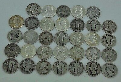 Mixed Lot of Washington Standing Liberty Barber Quarter Lot of 33 Silver Coins