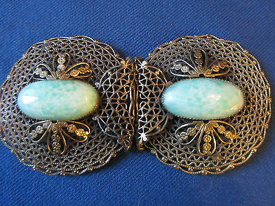 VINTAGE BELT BUCKLE CLIP 2pc SET w/TURQUOISE OVAL CABOCHON...MESH METAL..BOSS!!