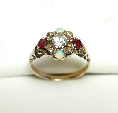 J5538 ANTIQUE VICTORIAN 10K GOLD OPAL MULTIGEMSTONE RING sz 5.5