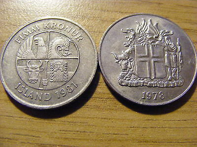 A Collection of 2 Iceland Coins - Dates 1978 - 1981