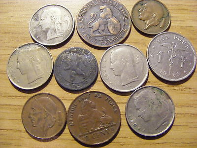 A Collection of 10 Belgium Coins - Dates 1858 - 1973 - 1870 may be Spain Coin