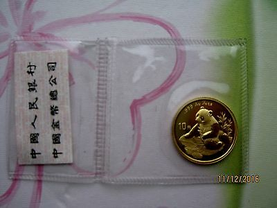 China 1998, 10 Yuan WWF Panda 1/10 oz 999er Gold, Typ1 (Large date), VOP/OMP