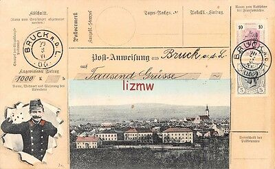 Austria Bruck Adl Town View Postman & Stamps Not Real Telegram Printed Card
