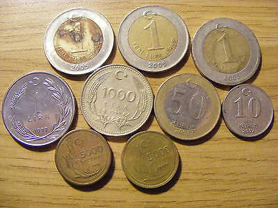A Collection of 9 Turkey Coins - Dates 1977 - 2007