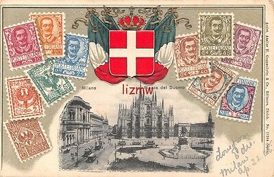 Italy Milano Piazza Del Dumo Postage Stamps Crest 1908 Embossed Stamp Card