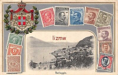 Italy Bellaggio Lake- Side View Postage Stamps & Crest Embossed Stamp Card
