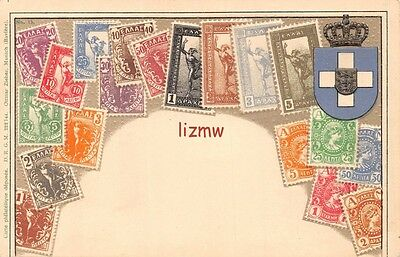 Greece Postage Stamps Not Real & Crest Embossed Stamp Card