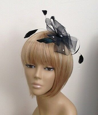 Black Looped Feather Diamante Fascinator Weddings Christenings Funeral Races