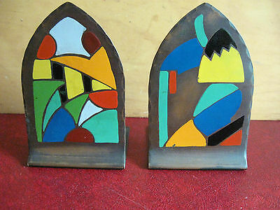 Craftsman Studios Arts Crafts Mission Hammered Copper Bookends Abstract Painted