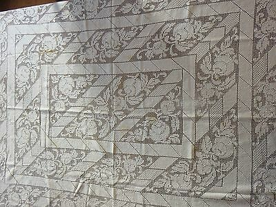Vintage Handmade Square Tablecloth Ecru Ivory Crochet Needle Lace Flowers