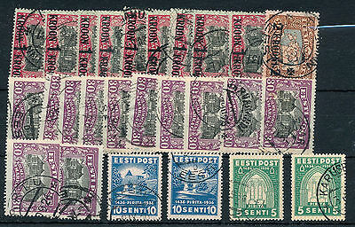 ESTONIA Abbey Surcharges Used(Approx 24 Items) BK22