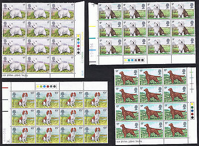 Dogs 1979 - MINT 12-Stamp blocks with Traffic Lights - SG1075 to SG1078