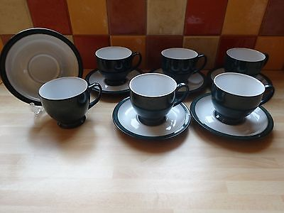 Denby Greenwich 6 Tea Coffee Cups And Saucers Vgc