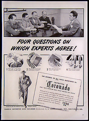 Vintage 1941 Imported Coronado Fabric Men's Suits Magazine Ad