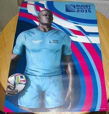 2015 RUGBY WORLD CUP ADVERTISING POSTER - NEW & UNUSED (blue man)