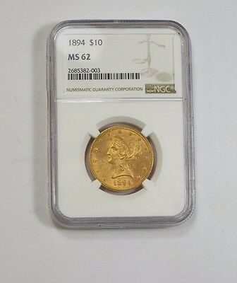 1894 GOLD Liberty Head Eagle $10 Coin CERTIFIED NGC MS 62