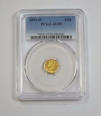1853-O Ty-1 GOLD Liberty Head $1 Coin CERTIFIED PCGS AU 55