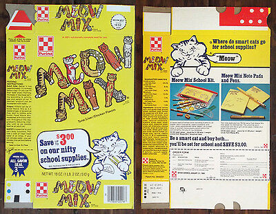 Old Vintage 1983 1980's Ralston Purina Meow Mix Cat Food Box School Supplies Pet