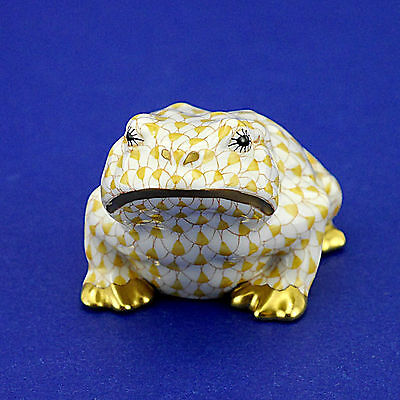 """Herend of Hungary Yellow Fishnet Frog 15321 Figurine - 4.5cm/1.75"""" High"""