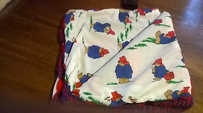 New Hand Made Knitted Wool Cot Cover With Paddington Bear Lining