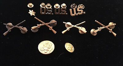 Lot of 10 Vintage WW2 WWII US Army Military Insignias