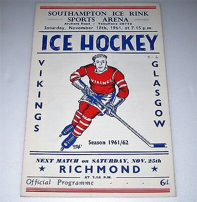 1961 SOUTHAMPTON VIKINGS v GLASGOW Ice Hockey Programme