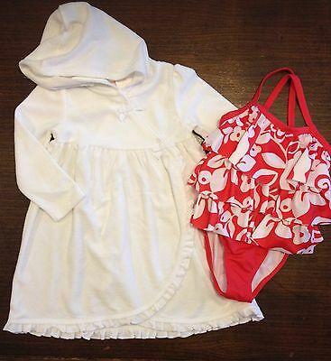 NWT Gymboree Outlet Red Floral Tiered Swimsuit Swimwear One Piece Size 3T Girls