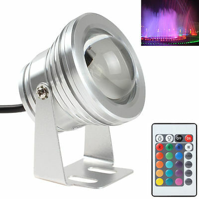 10W 12V RGB Silver LED Underwater  Waterproof Pool Lawn Light With 24 Key Remote