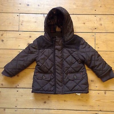 MARKS & SPENCER BROWN QUILTED / PADDED COAT AGE 9 - 12 mths
