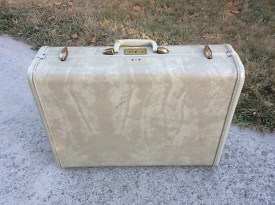 "Vintage Samsonite hard side 21"" Suitcase Tan Marble Fantastic condition 1950s 60"