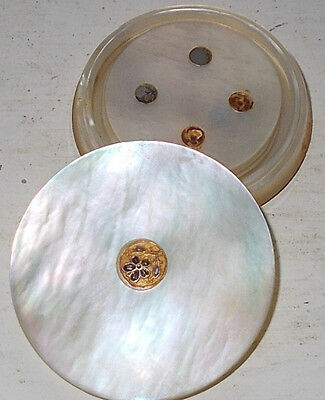 ANTIQUE  MOTHER of PEARL GAMING COUNTER POT & 4 COUNTERS