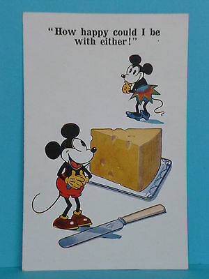 VINTAGE DISNEY - MICKEY & MINNIE MOUSE POSTCARD - Cheese INTER-ART Co. c1930s