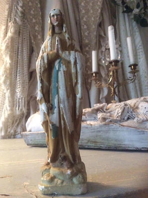 ~*Perfectly Time Worn Vintage French Religious Madonna Figurine/Statue*~