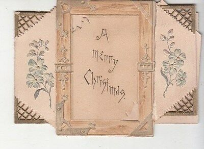 A Merry Christmas May Truth & Right Verse Folding Victorian Card c 1880s