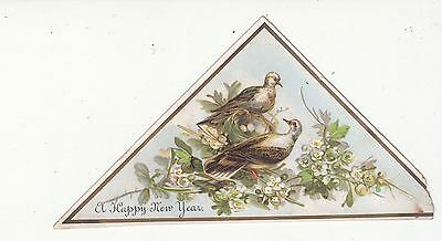 A Happy New Year Two Birds and a Nest of Eggs Victorian Card c 1880s