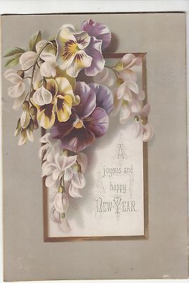A Joyous & Happy New Year Yellow &  Purple Pansies  Victorian Card c1880s