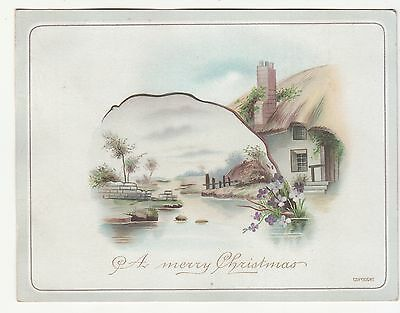A Merry Christmas River Stone Wall House Purple Flowers Victorian Card  c1880s